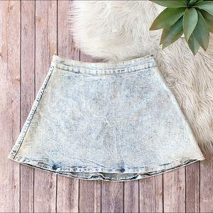 Acid Wash Denim Circle Skirt